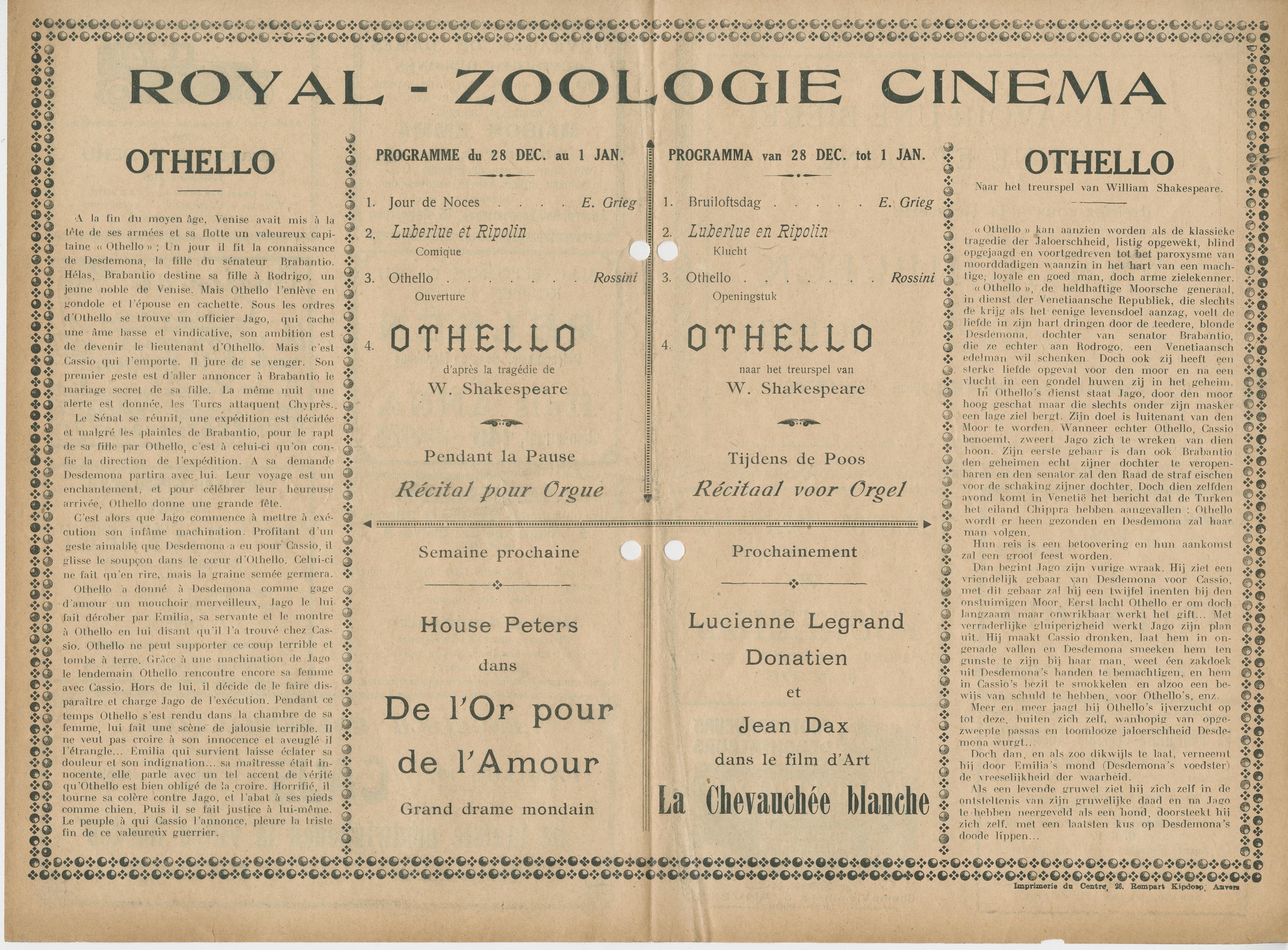 Cine ZOOlogie | 28 dec  tot 1 jan  1925